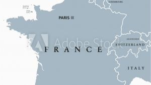 Map Of France and Neighbouring Countries Fotografie Obraz France Political Map with Capital Paris Corsica