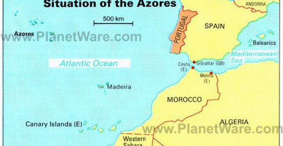 Map Of France and Portugal Azores islands Map Portugal Spain Morocco Western Sahara Madeira