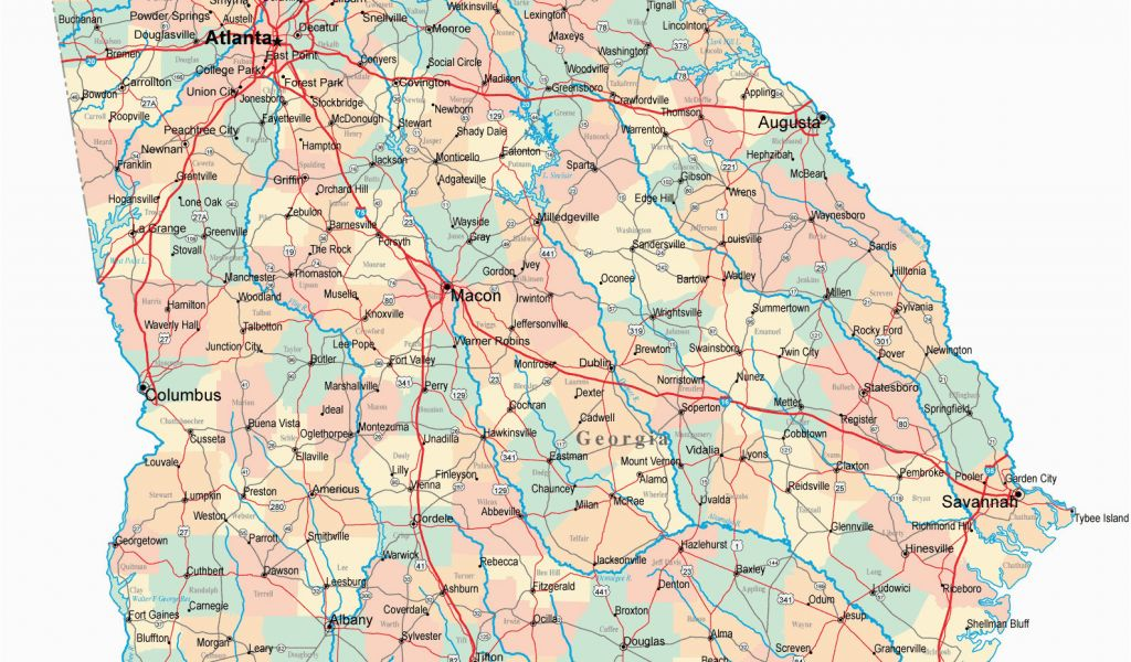 graphic regarding Printable Map of Georgia titled Map Of Ga Highways Visitors Map southern California