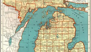 Map Of Holly Michigan 1921 Vintage Michigan State Map Antique Map Of Michigan Gallery Wall