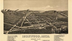 Map Of Ironwood Michigan Historic Map Of Ironwood Michigan 1886 Ontonagon County Kjaposters
