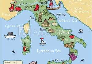 Map Of Italy with Rivers and Mountains Fotografie Obraz Cartoon Vector Map Of Italy for Kids Posters Cz