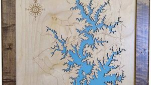 Map Of Lake norman north Carolina Lake norman north Carolina Wood Laser Cut Map Lake norman Nc