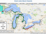 Map Of Michigan Lakes with Beaches Great Lakes Beach Hazards Page
