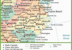 Map Of North And South Carolina Cities Map Of Virginia And North