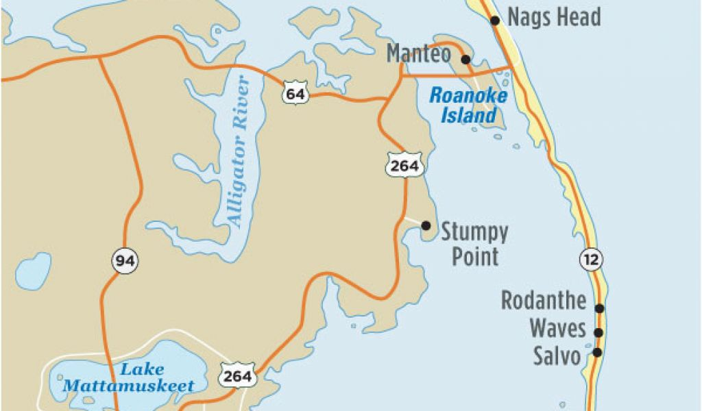 Map Of north Carolina Outer Banks Map Of Outer Banks Nc Outer Banks ...
