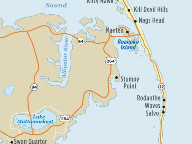 Map Of north Carolina Outer Banks Map Of Outer Banks Nc ...