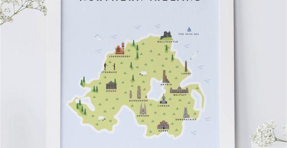 Map Of north Ireland Map Of northern Ireland Print