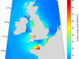 Map Of northwest Europe the theoretical Tidal Range Energy Resource Over the
