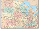 Map Of southern Minnesota and northern Iowa Usa Midwest Region Map with States Highways and Cities Map Resources
