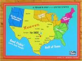Map Of Texas Lakes A Texan S Map Of the United States Featuring the Oasis Restaurant