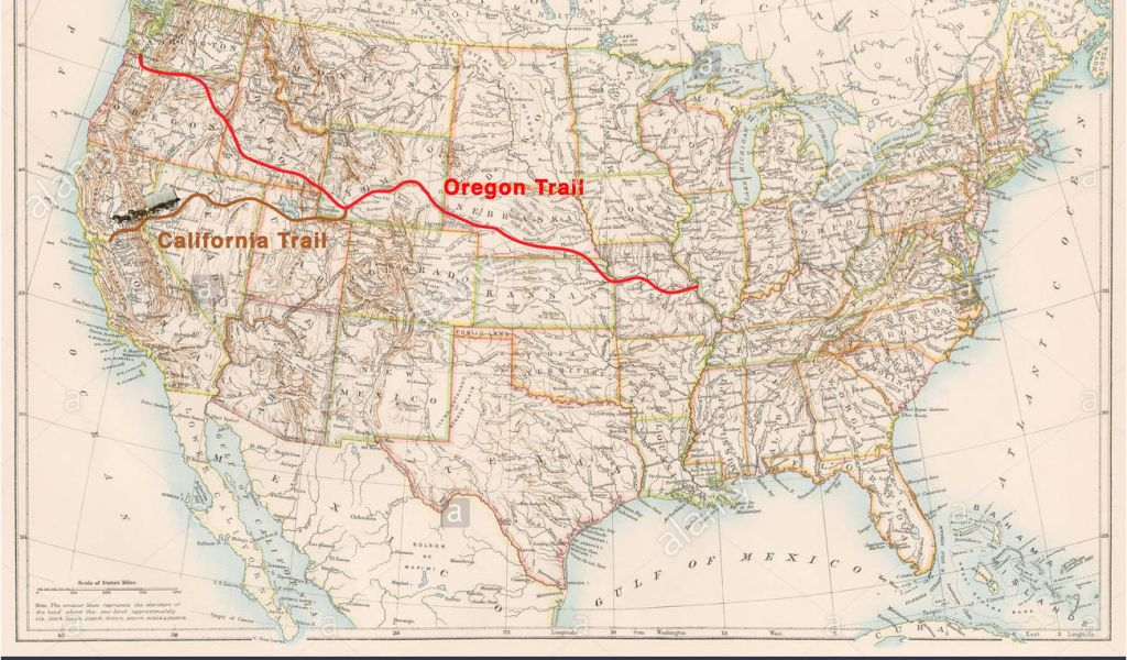Map Of the oregon Trail Route Manifest Destiny Stockfotos