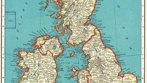 Map Og England 1937 Vintage British isles Map Antique United Kingdom Map