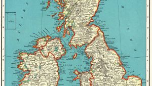 Map Ok England 1937 Vintage British isles Map Antique United Kingdom Map