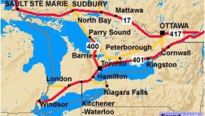 Map Trans Canada Highway to and From toronto Ontario and the Trans Canada Highway