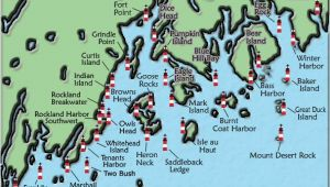 Michigan Lighthouses Map Acadia and Penobscot Bay Maine Lighthouse Map the Lighthouse On