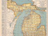 Michigan Map by City 1939 Michigan Vintage atlas Map by Oddlyends On Etsy Map Love