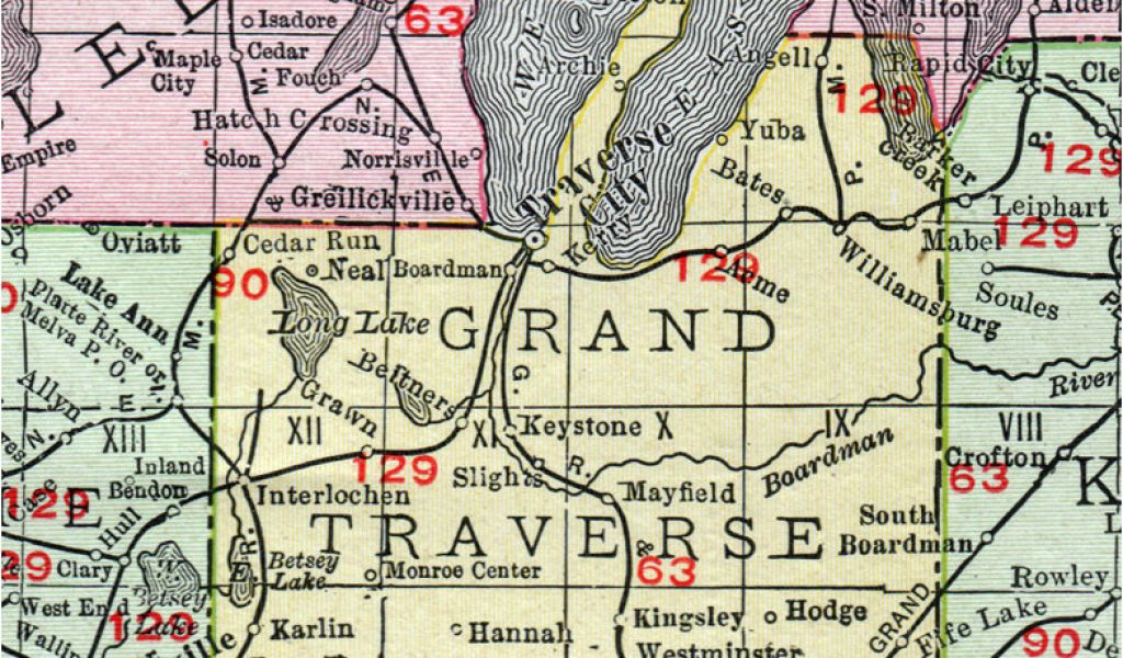 Michigan Map with Counties and Cities Grand Traverse County Michigan on