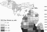 Michigan Population Density Map Michigan Political Map Showing County Names and Human Population