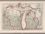 Michigan Railroad Map New Rail Road and County Map Of Michigan and Wisconsin David