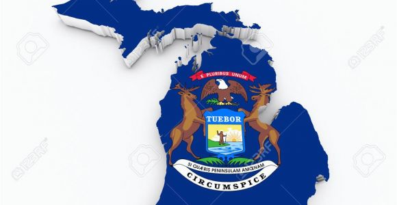 Michigan State Land Map Michigan State Flag Od 3d Map Stock Photo Picture and Royalty Free