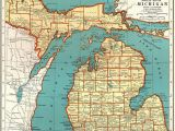 Michigan State Land Maps 1921 Vintage Michigan State Map Antique Map Of Michigan Gallery Wall