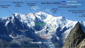 Mont Blanc France Map Routes Up Mont Blanc Mountaineering Climbing Mont Blanc