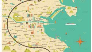 Motorway Map Of Ireland Illustrated Map Of Dublin Ireland Travel Art Europe by