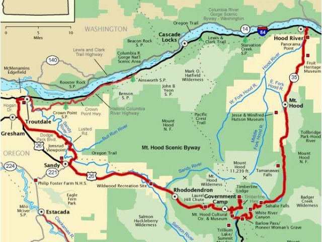 Map Of America Oregon.Mt Hood Map Oregon Mt Hood Scenic Byway Map America S Byways Camping