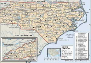 North Carolina Gold Map State and County Maps Of north Carolina