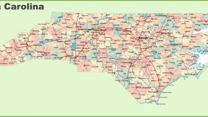 North Carolina Map with Counties and Cities Road Map Of north Carolina with Cities