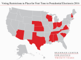 North Carolina Voting Map Election 2016 Restrictive Voting Laws by the Numbers Brennan