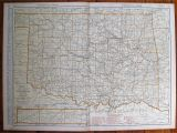 Oklahoma Texas Map with Cities 1930 Antique Oklahoma Map Vintage State Map Of Oklahoma W Etsy