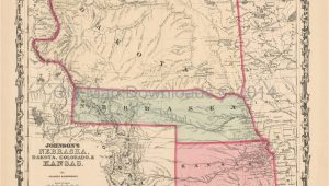 Old Maps Of Colorado Digital Map Unique Colorado Kansas Old Map Johnson 1861 Digital