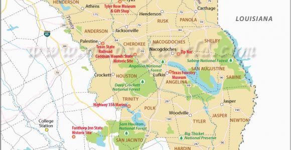 Piney Woods Texas Map Secretmuseum