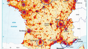 Population Map Of France France Population Density and Cities by Cecile Metayer Map