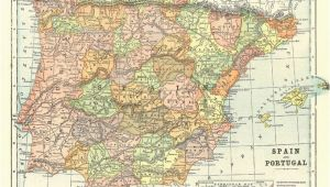 Printable Map Of Spain Map Of Spain and Portugal From 1904 Vintage Printable Digital