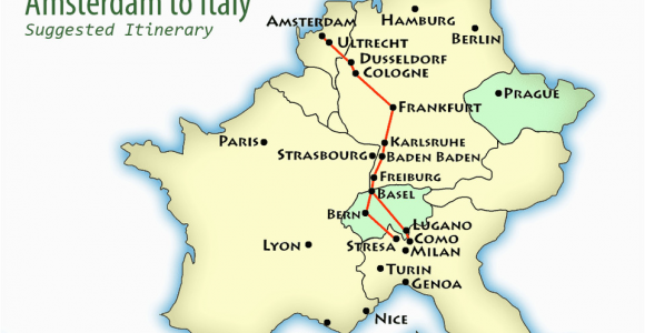 Rail Europe Italy Map Amsterdam to northern Italy Suggested Itinerary