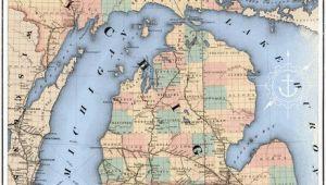 Railroad Map Michigan Michigan Railroad Map Art Print I Like Maps Pinterest