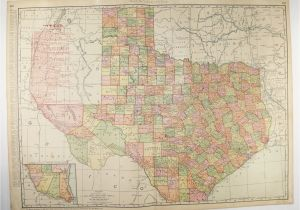 Rand Mcnally Map Of Texas Vintage Map Of Texas 1903 Very Large Texas Map Texas Railroad Etsy