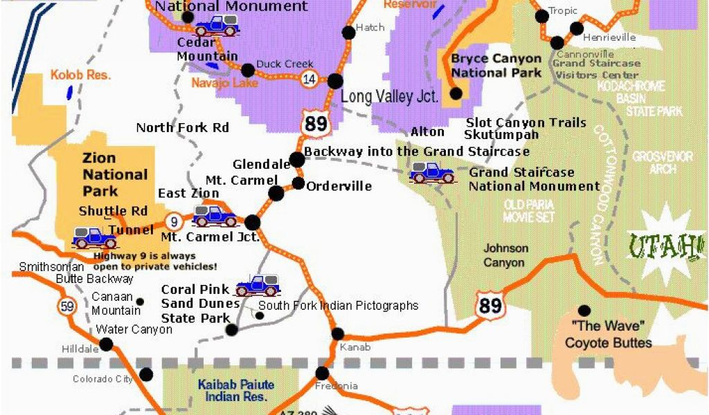 Road Map Of Southern Arizona.Road Map Of Arizona Nevada And Utah A Map Of Southern Utah And