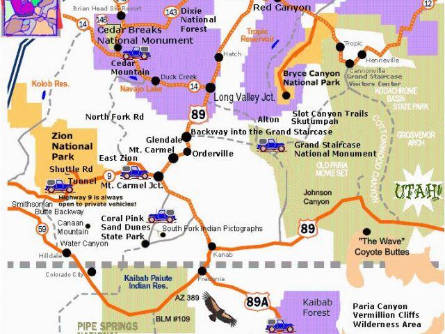 Road Map Of Arizona Nevada and Utah A Map Of southern Utah and ...