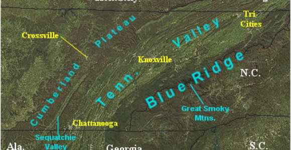 Road Maps Of Tennessee Landform Map Of Tennessee Major Landforms Of East Tennessee