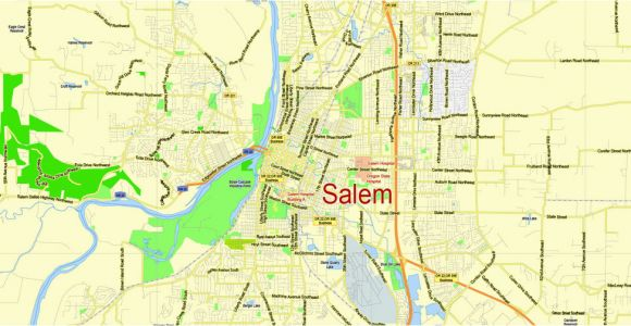 Salem oregon Street Map Portland Vancouver oregon City Salem Large area Printable Map