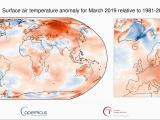 Sea Temperature Map Europe Surface Air Temperature for March 2019 Copernicus