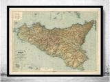 Sicily On Map Of Italy Old Map Of Sicily Sicilia Italia 1891 Home is where the Heart is