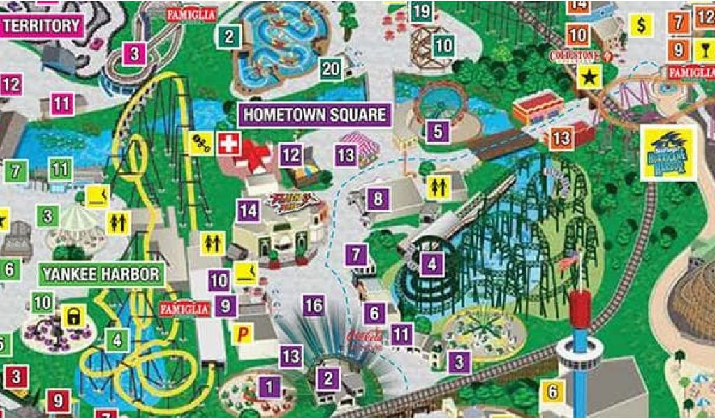Six Flags California Map Park Map Six Flags Great America ... on 1980 astroworld map, glacial drumlin state trail map, six flags baltimore map, 6 flags map, rush street map, lithia springs ga on the map, scout camp rainey mountain georgia map, whitewater six flags map, kingda ka map, wyandot lake map, magic springs and crystal falls map, sesame place map, great america gurnee map, dallas six flags map, six flags great escape map, kiddieland map, chicago map, six flags gurnee map, nagashima spa land map, china great wall of china map,
