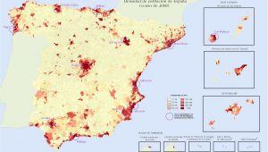 Spain Population Density Map Quantitative Population Density Map Of Spain Lighter Colors