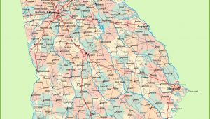 State Of Georgia Counties Map Georgia Road Map with Cities and towns