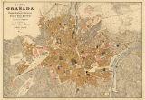 Street Map Of Granada Spain Granada Map Old Map Of Granada Print On Paper or Canvas Vintage
